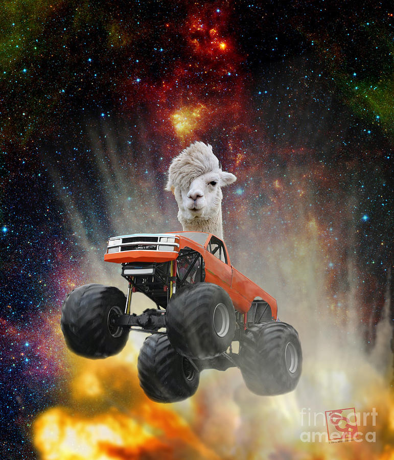 Extreme Emo Lama Driving a Monster Truck Jumping Over an Explosion With Galaxy   by Erik Paul