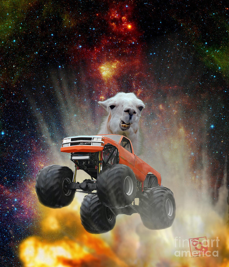 Extreme Grumpy Lama Driving A Monster Truck Jumping Over An Explosion With Galaxy by Erik Paul