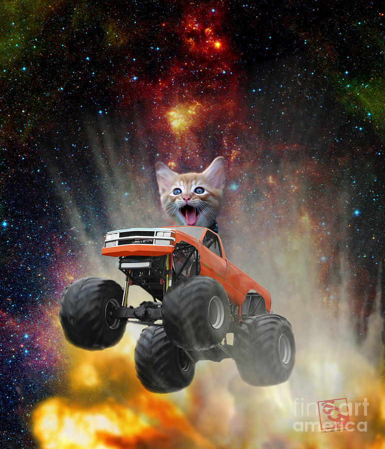 Extreme Kitten Driving a Monster Truck Jumping Over an Explosion With Galaxy 1 by Erik Paul