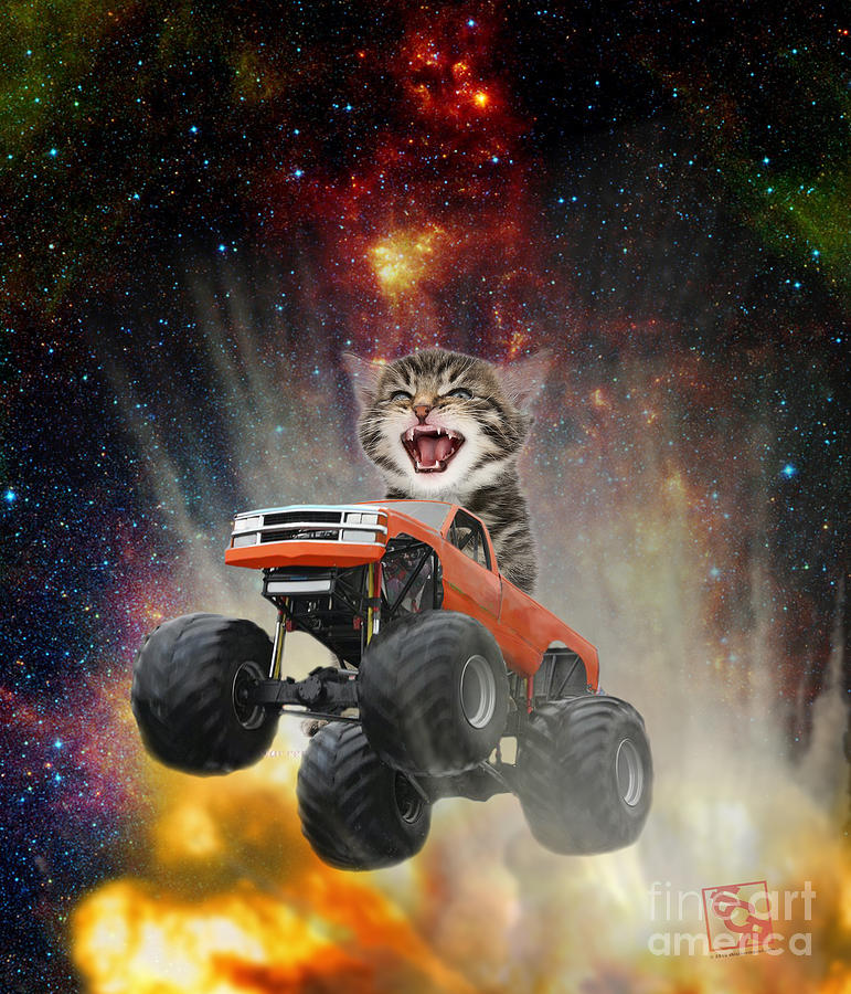 Extreme Kitten Driving a Monster Truck Jumping Over an Explosion With Galaxy 2  by Erik Paul