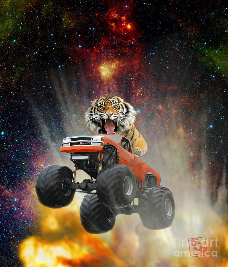 Extreme Pissed Off Tiger Driving a Monster Truck Jumping Over an Explosion With Galaxy by Erik Paul