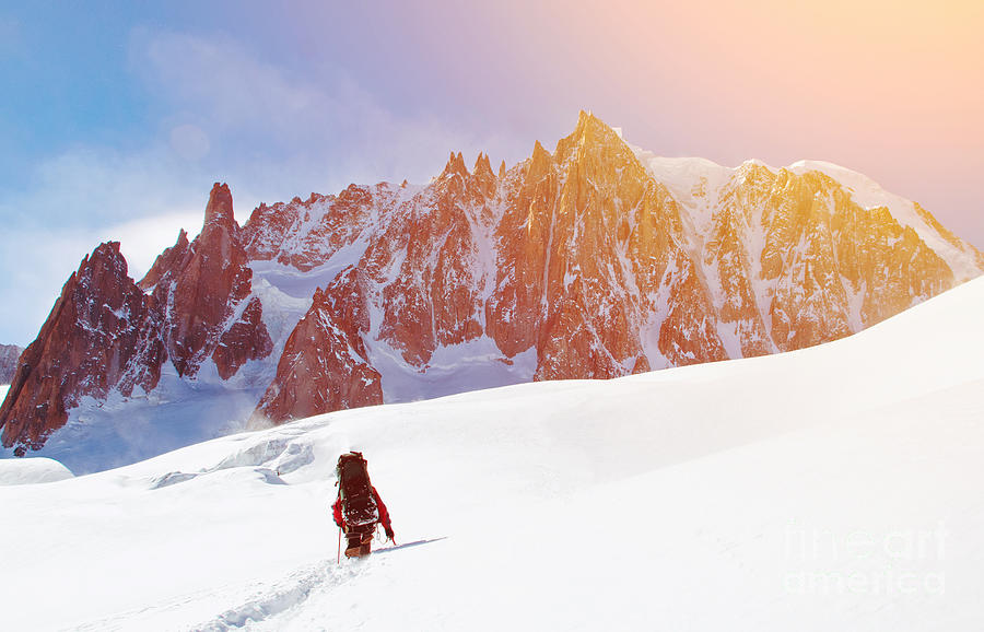 Altitude Photograph - Extreme Sport. Lone Hikers In Winter by Vixit