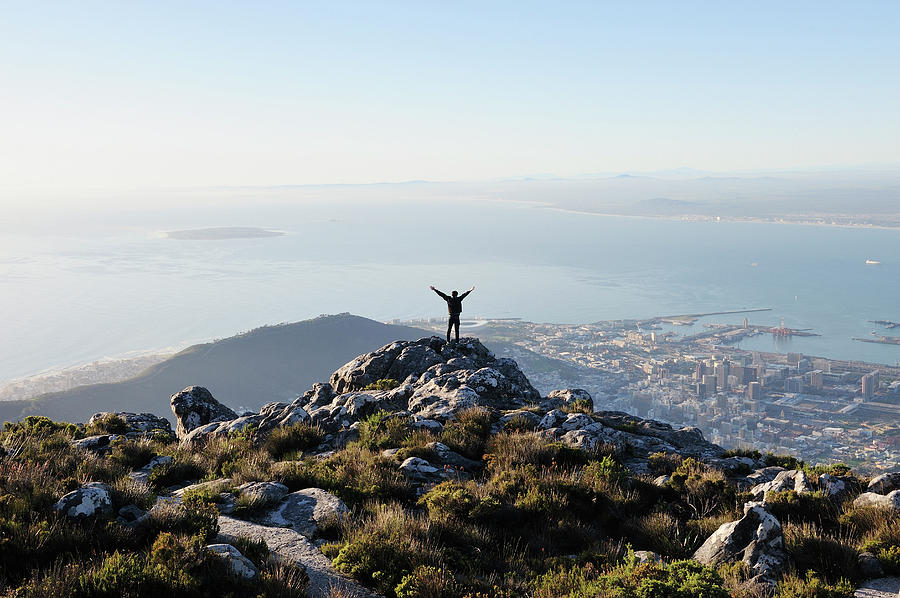 Exuberant Man On Top Of Table Mountain Photograph by David Malan