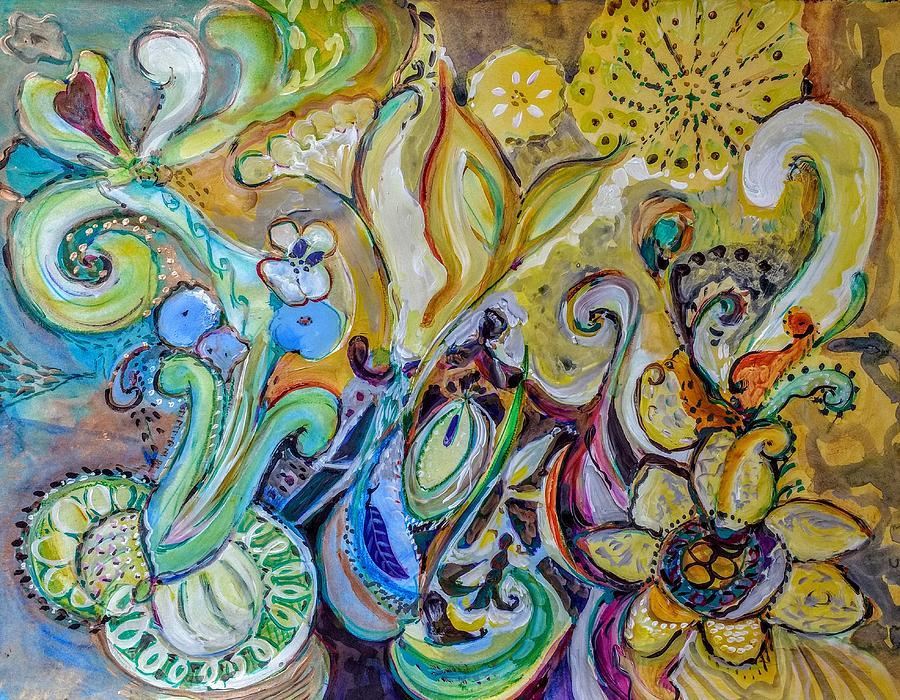 Painting Painting - Exuberant Paisley by Joyce Lieberman