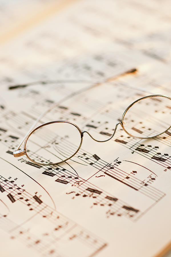 Eyeglasses On Sheet Music Photograph by Tom Grill