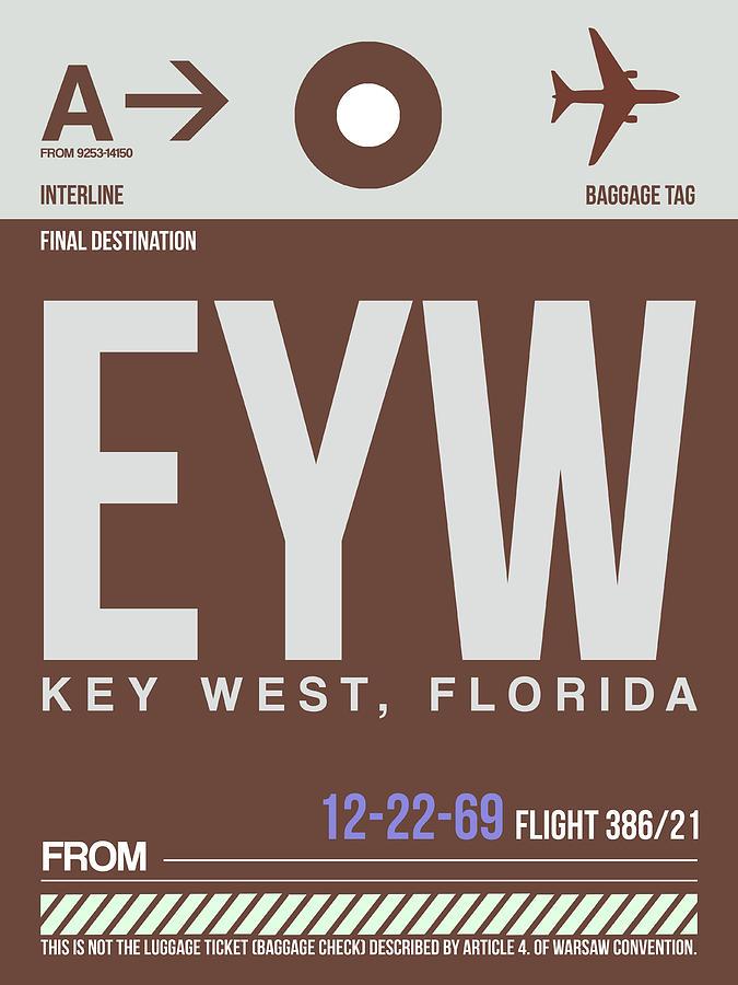Key West Digital Art - Eyw Key West Luggage Tag II by Naxart Studio