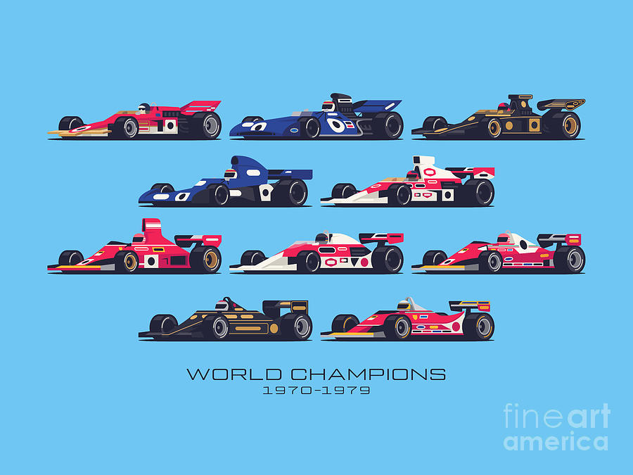 F1 Digital Art - F1 World Champions 1970s - Blue by Ivan Krpan