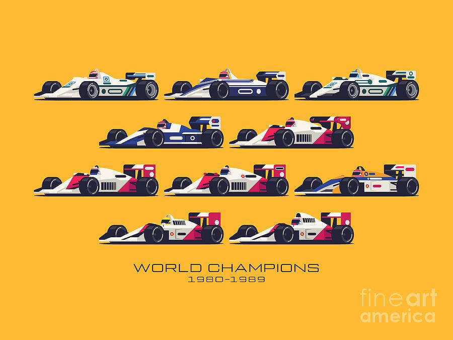 F1 Digital Art - F1 World Champions 1980s - Yellow by Ivan Krpan