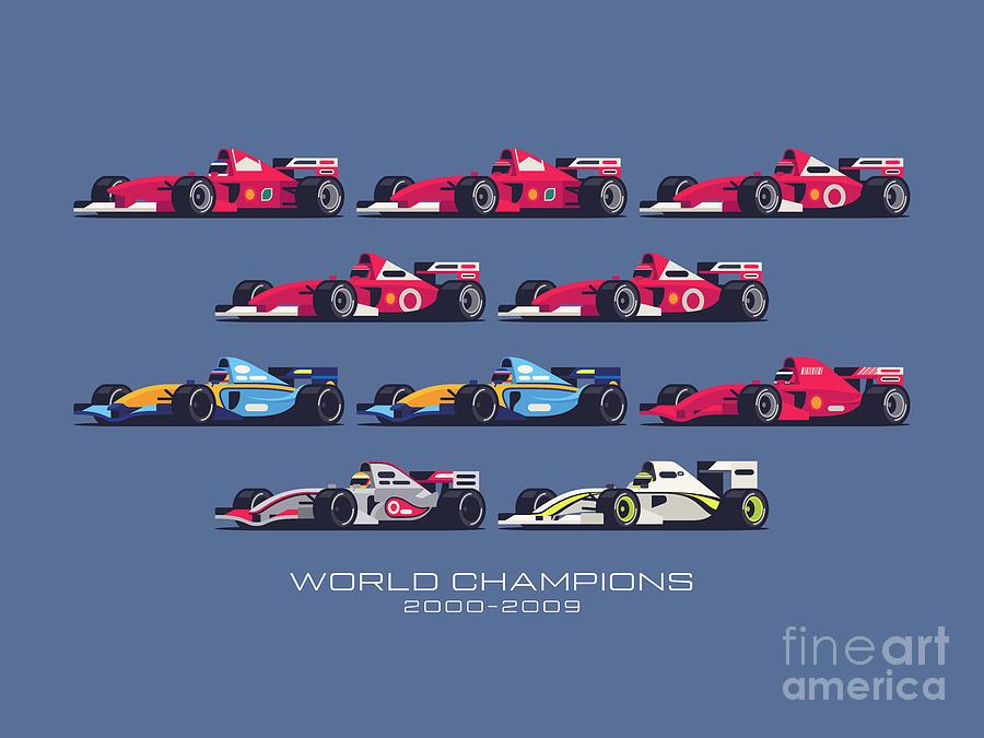 F1 Digital Art - F1 World Champions 2000s - Midnight by Ivan Krpan