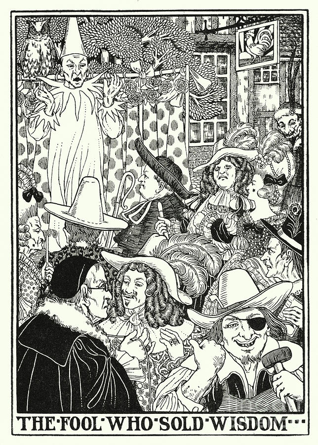 Border Painting - Fables Of La Fontaine, The Fool Who Sold Wisdom by Percy James Billinghurst