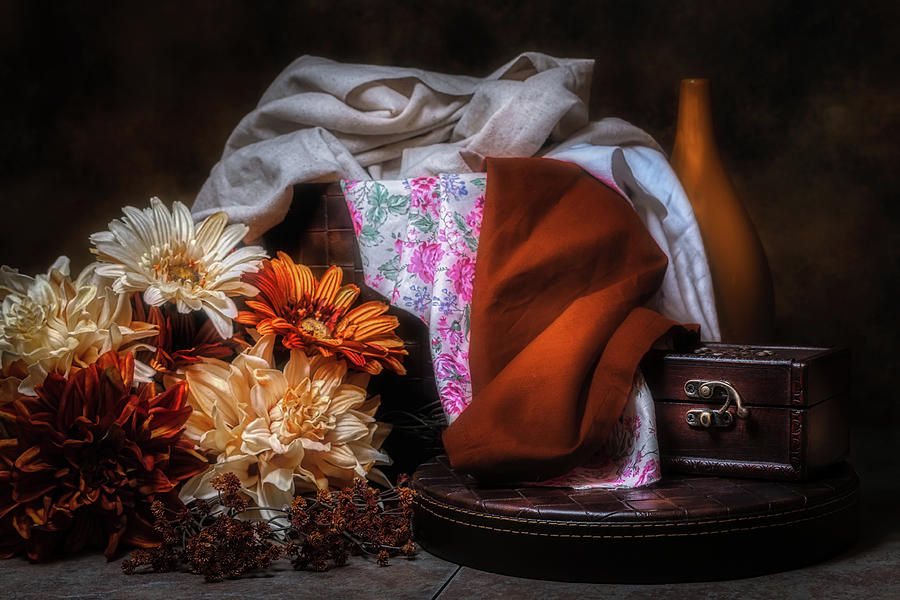 Arrangement Photograph - Fabric And Flowers by Tom Mc Nemar