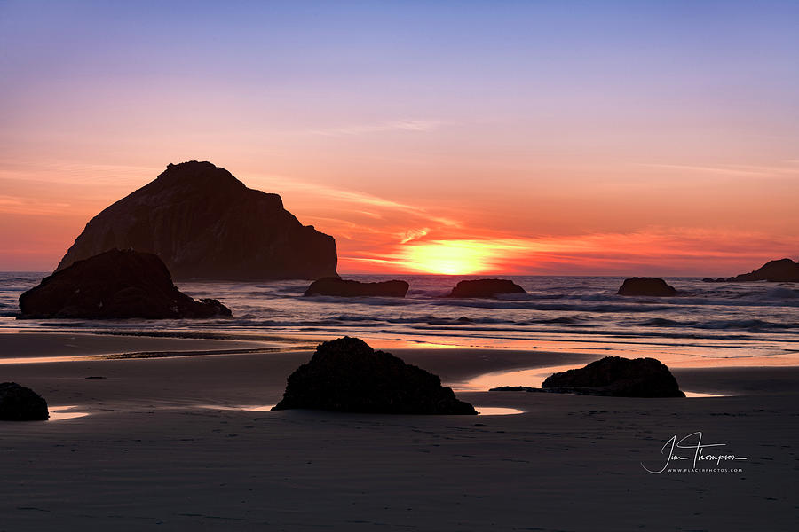 Bandon Beach Photograph - Face Rock At Sunset by Jim Thompson