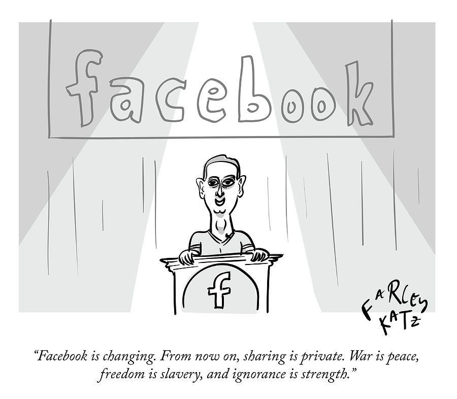 Facebook Doublethink Drawing by Farley Katz