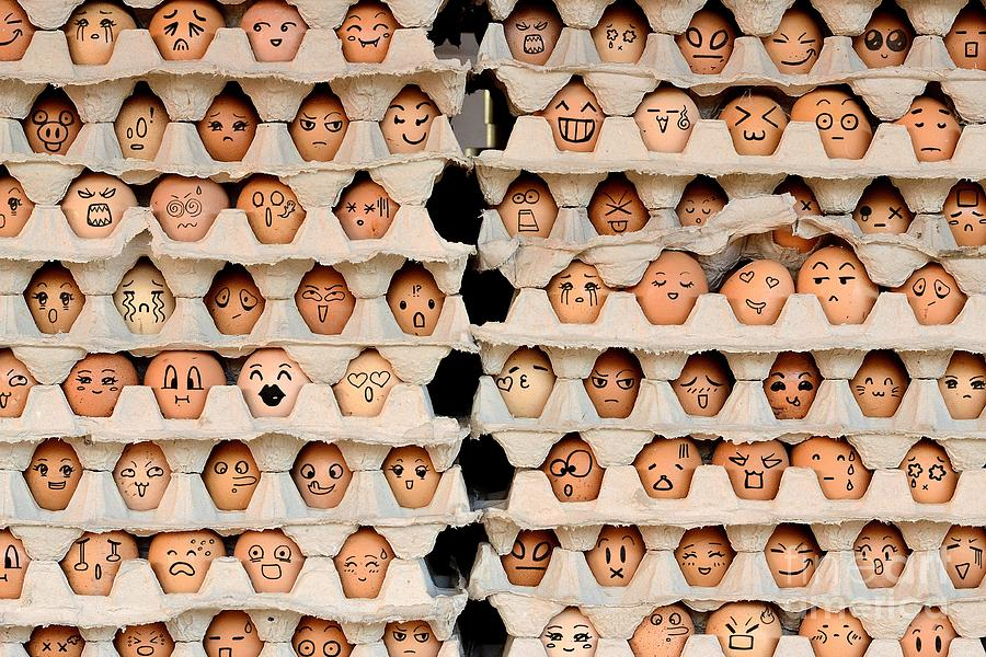 Love Photograph - Faces On The Eggs Differences Faces by Kemal Taner