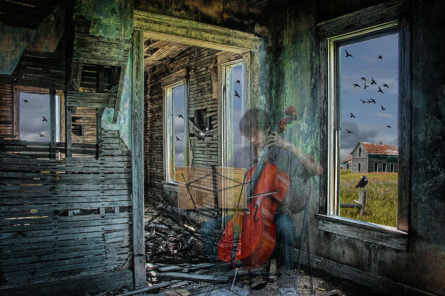 Faded Memory before the Ruins. A Semi-trasnparent Cello Player  by Randall Nyhof