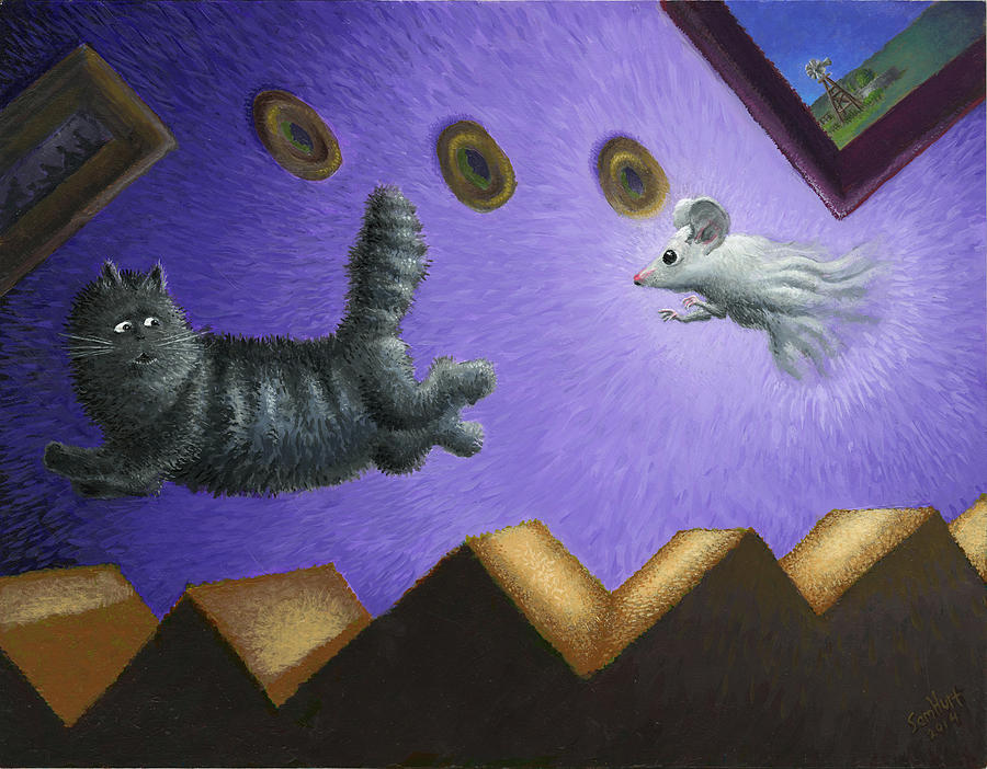 Cat Painting - Fair Play by Sam Hurt