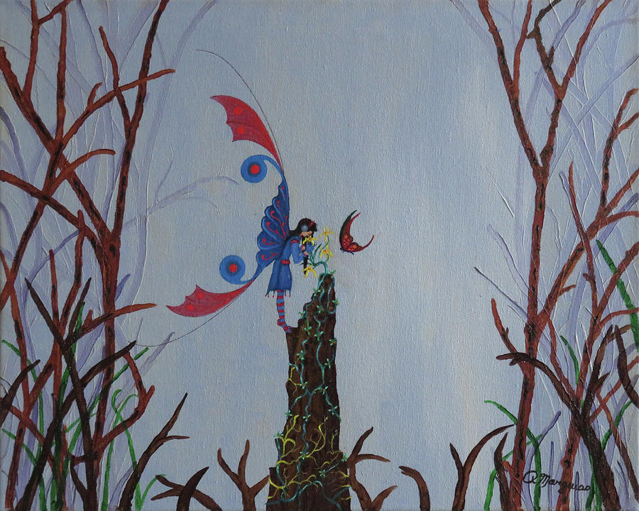 Fairy Painting - Fairy and Butterfly by Robert Marquiss