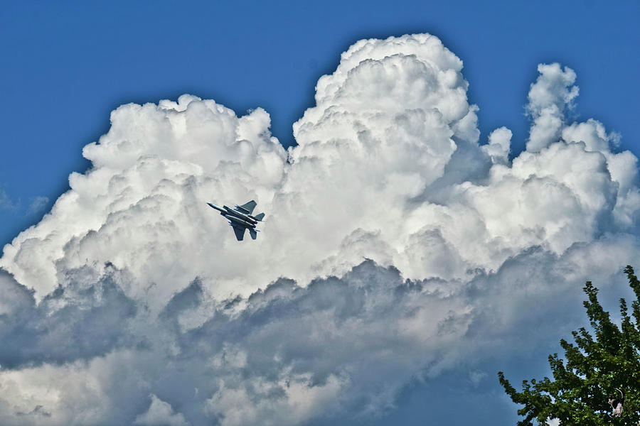 Falcon Heights Clouds And F 15 by Joyce Dickens