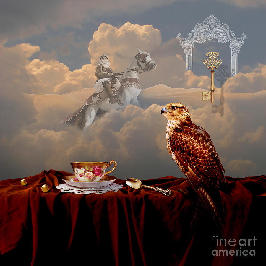 Falcon with gold key by Alexa Szlavics