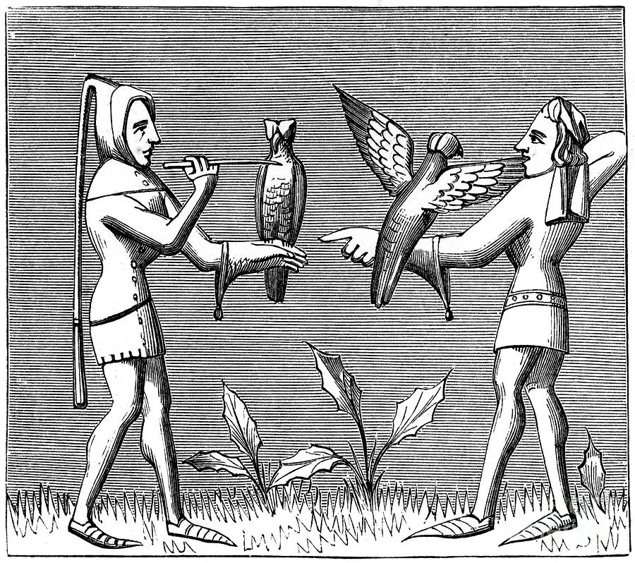 Falconers Dressing Their Birds, 14th Drawing by Print Collector