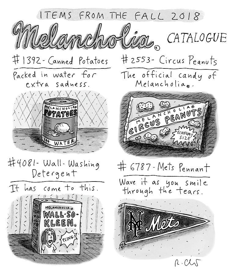 Fall 2018 Melancholia Catalog Drawing by Roz Chast