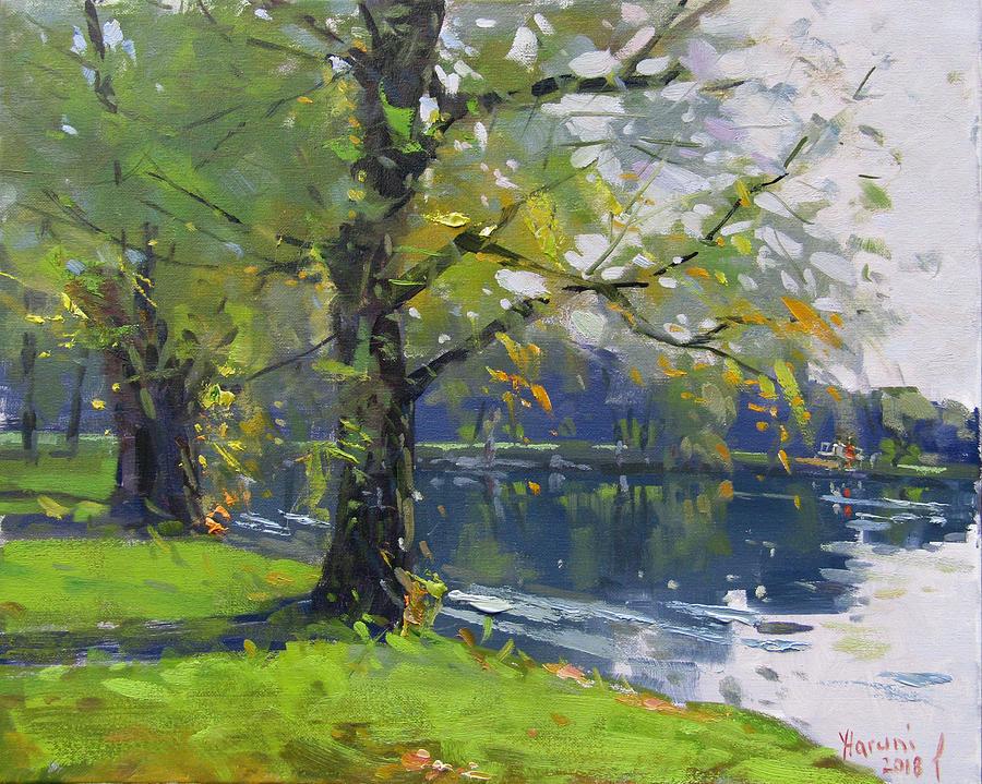 Fall Painting - Fall at Bond Lake Park by Ylli Haruni