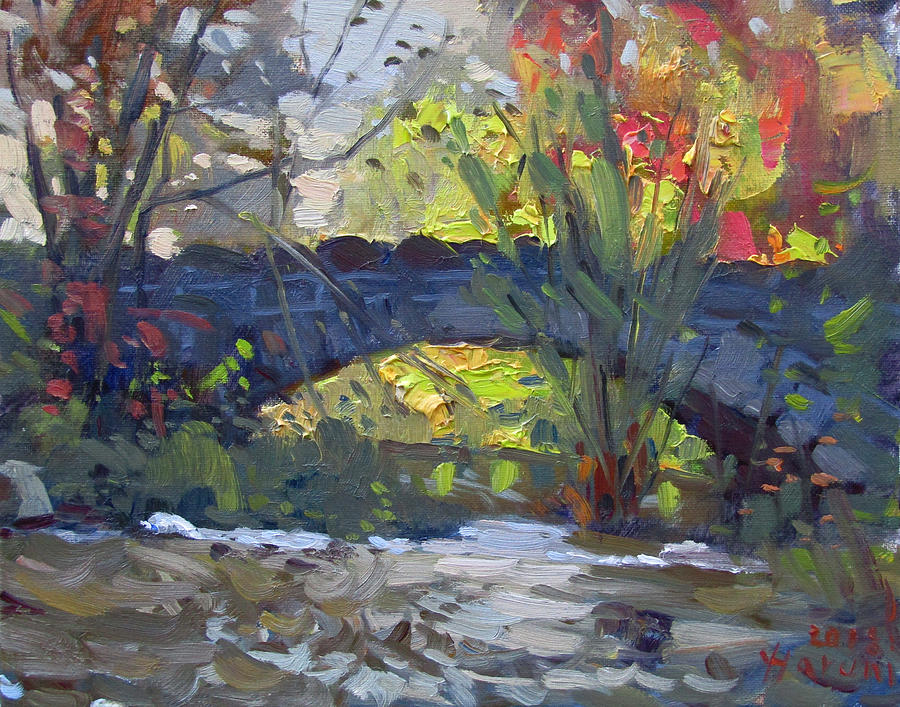 Fall Painting - Fall At Stone Bridge In Goat Island by Ylli Haruni
