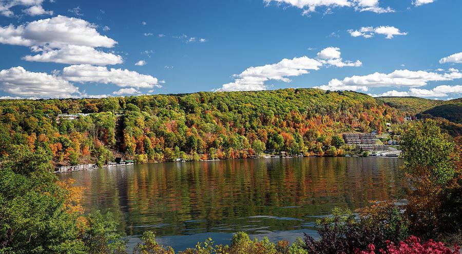 Fall colors on Cheat Lake Morgantown by Steven Heap