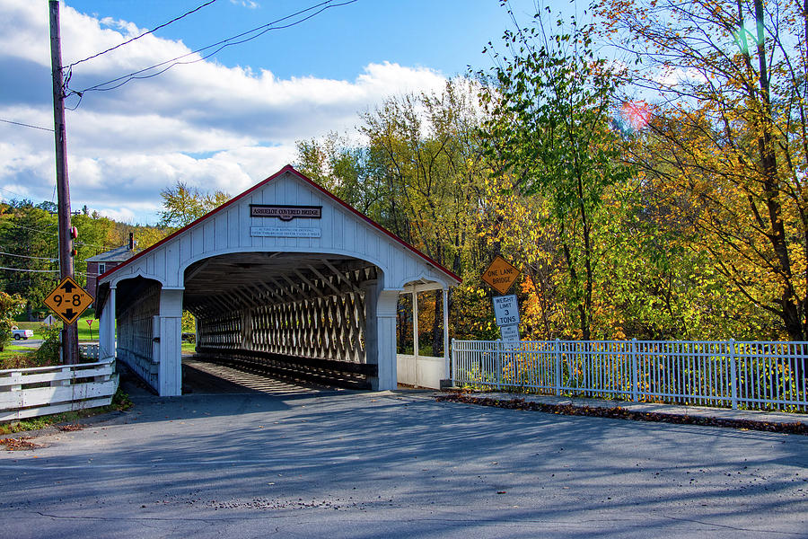 Fall colors over Ashuelot Covered Bridge by Jeff Folger