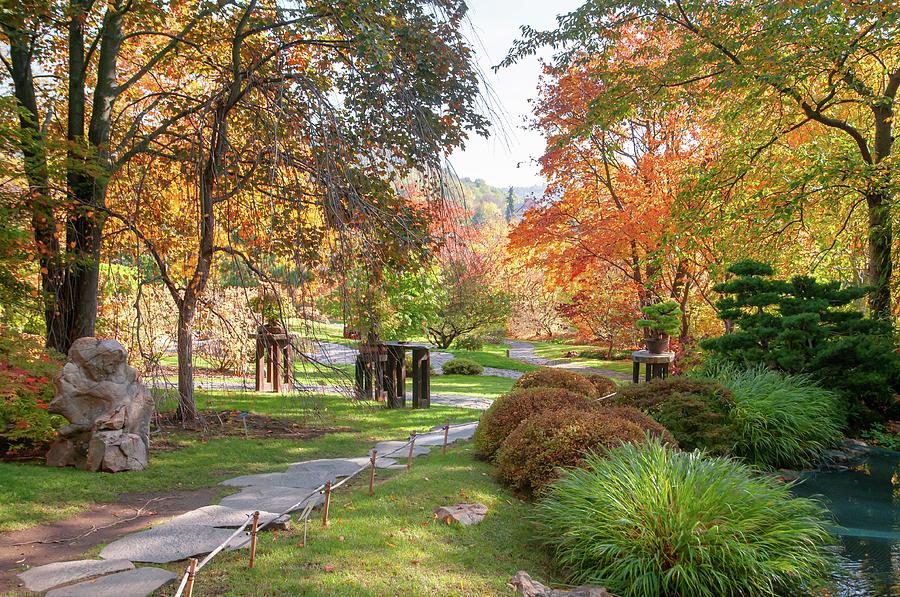 Fall in Japanese Garden 1 by Jenny Rainbow