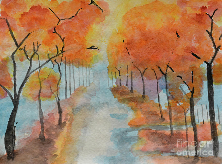 Fall is my fav color - watercolor by Adrian DeLeon
