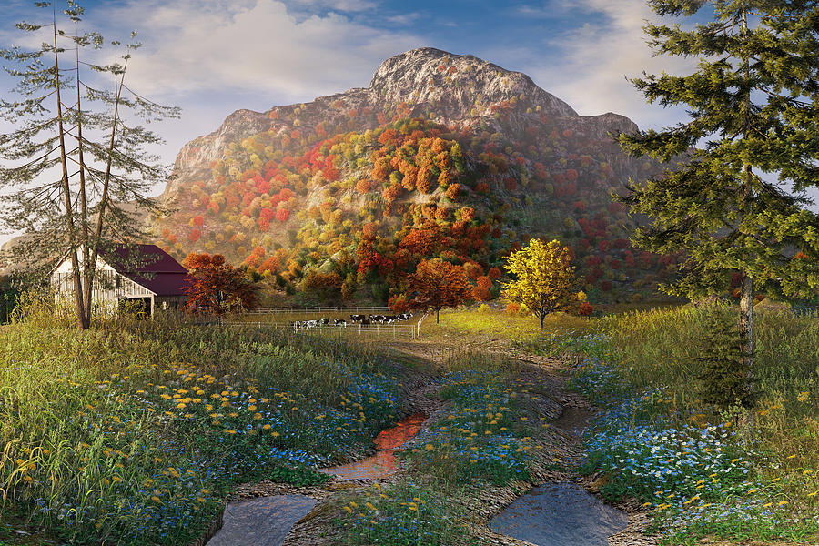 Fall Mountain Scene by Mary Almond