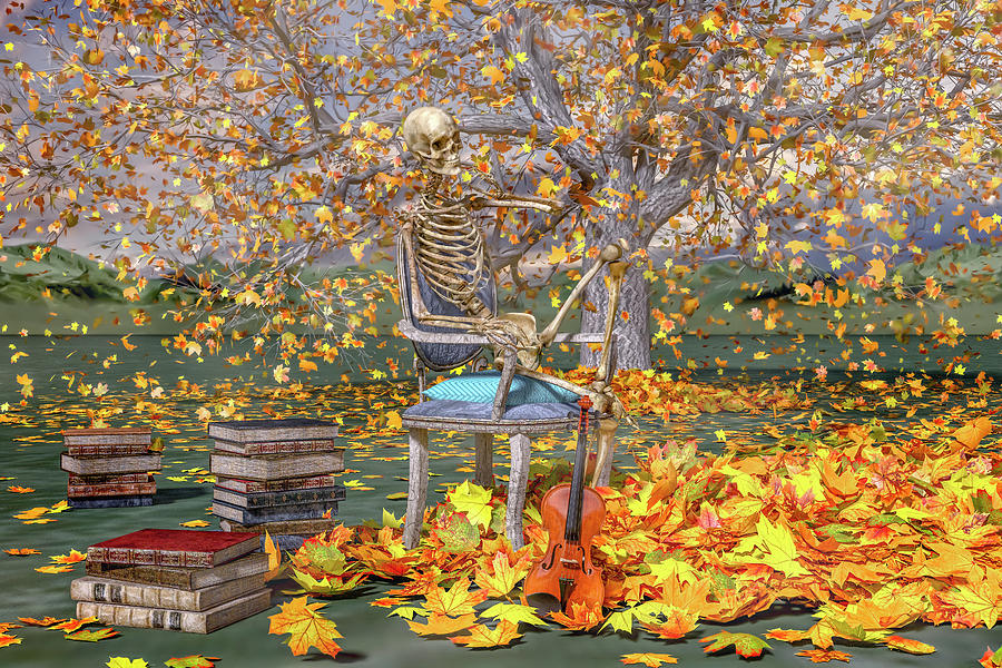 Skeleton Digital Art - Fall Muse by Betsy Knapp