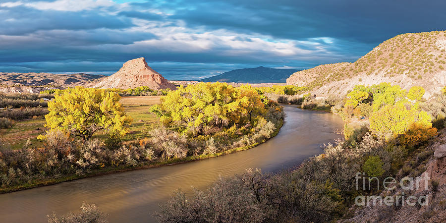 Rio Chama Photograph - Fall Panorama Of Rio Chama Valley And Changing Cottonwoods - Abiquiu Northern New Mexico  by Silvio Ligutti