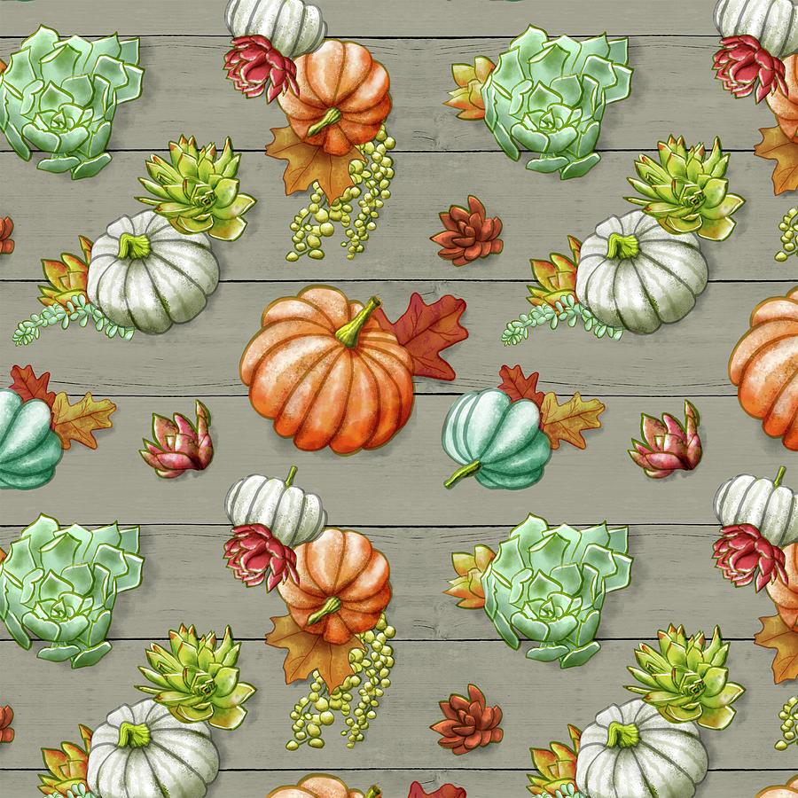 Wood Fall Pumpkin Succulent Pattern by Jen Montgomery by Jen Montgomery