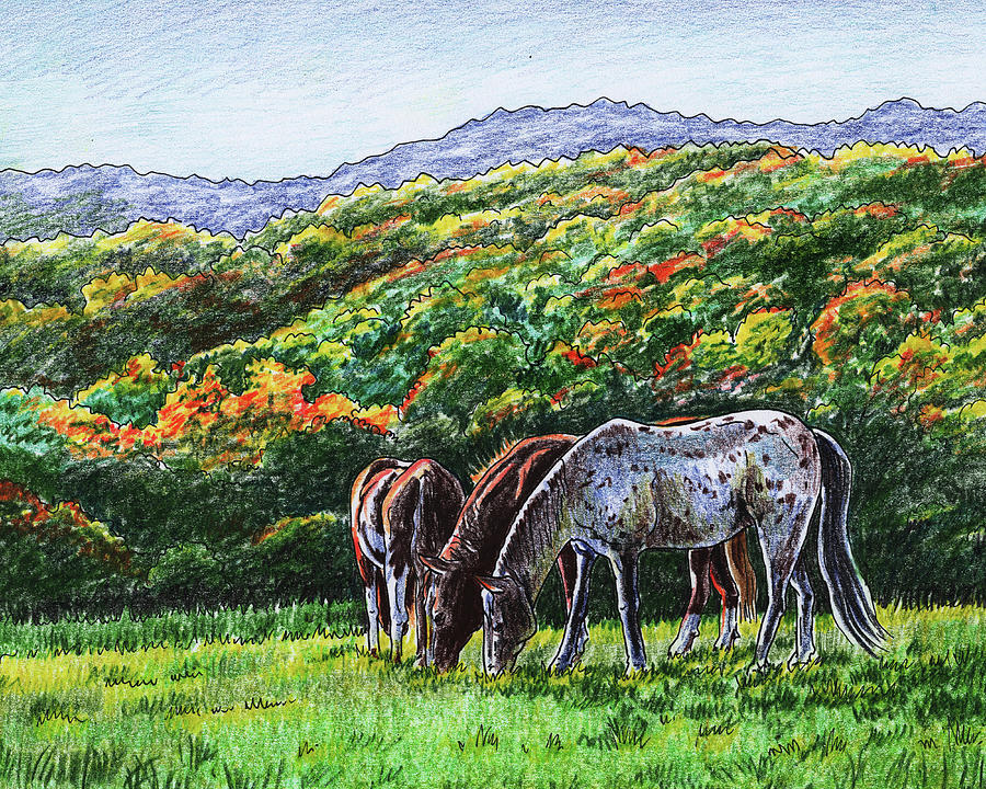 Fall Ranch Grazing Horses Painting