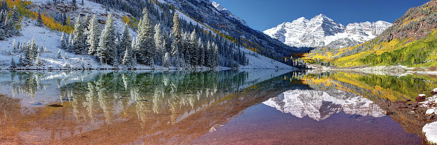 Fall Season at Maroon Bells Panoramic Image by OLena Art Lena Owens  by OLena Art - Lena Owens