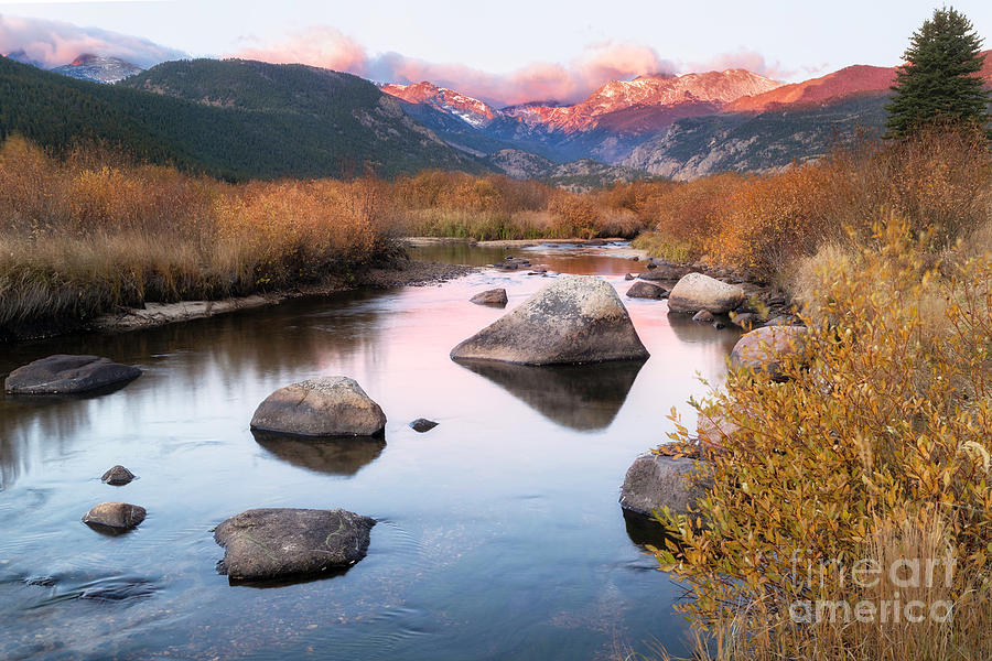 Fall Sunrise on the Big Thompson River in Rocky Mountain Nationa by Ronda Kimbrow