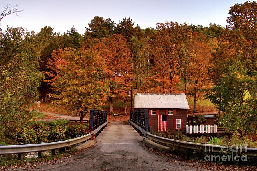 Fall Sunset at Foundry Bridge in North Tunbridge Vermont by Daniel Brinneman