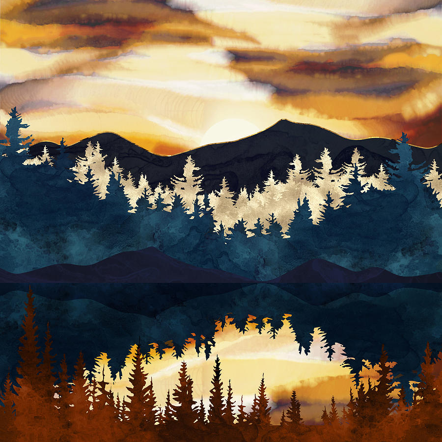 Fall Digital Art - Fall Sunset by Spacefrog Designs
