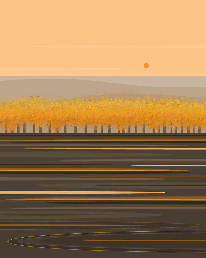 Fall Trees in a Row by Val Arie