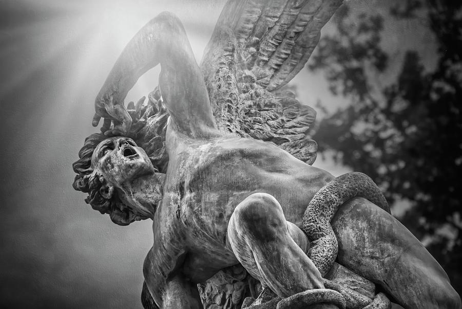 Fallen Angel Retiro Park Madrid Black And White Photograph