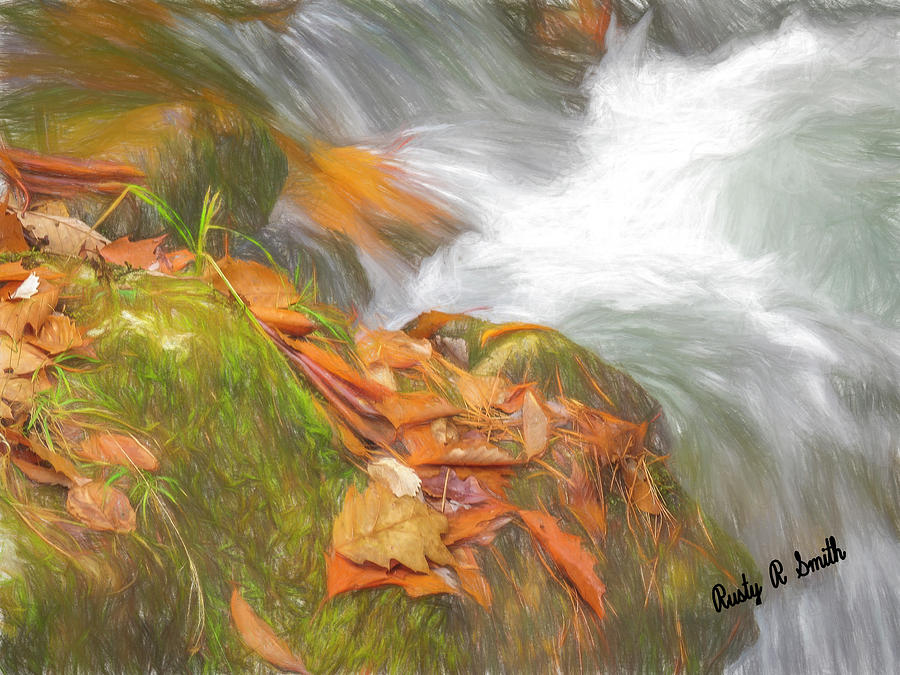 Fallen orange leaves,pine needles and fast flowing water. by Rusty R Smith