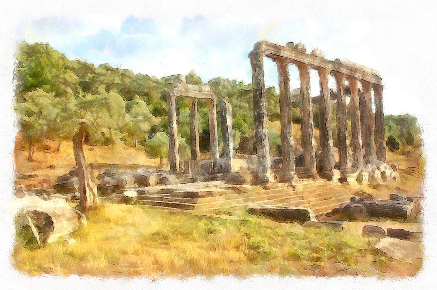 Fallen Ruins of Euromos Watercolor by Taiche Acrylic Art