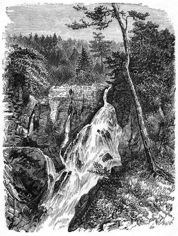 Falls Of Sainte Anne, Below Quebec Drawing by Print Collector