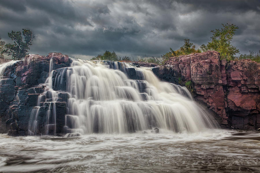 Falls Park Water Falls in Sioux Falls South Dakota by Randall Nyhof