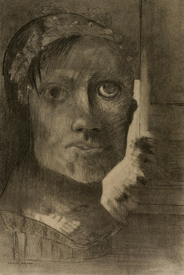 French Painters Drawing - False Glory by Odilon Redon