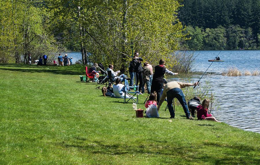 Families Fishing at Lake Padden by Tom Cochran
