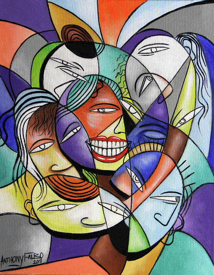 Cubism Painting - Family by Anthony Falbo