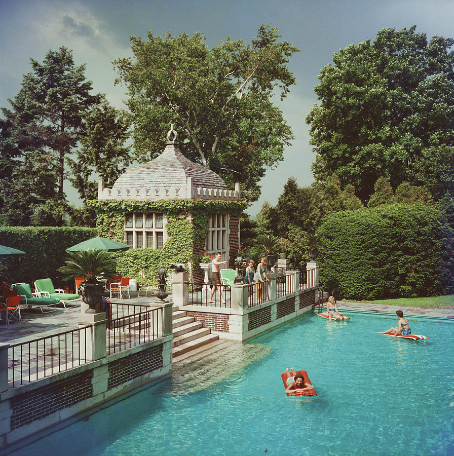 Family Pool Photograph by Slim Aarons